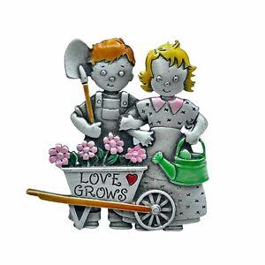 JJ Jonette Vintage Love Grows Garden Gardener Brooch Pewter Blonde Redhead Cute!
