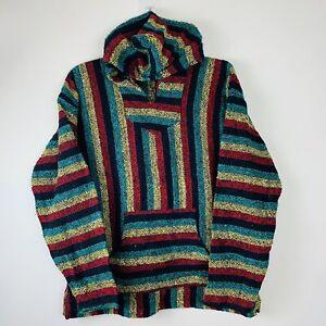 Mexican Baja Canyon Creek Hoodie - Striped Hippy Rugged Festival Jumper - XL