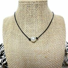 Big White Freshwater Pearl  Black Genuine Leather Cord Knot Bib Choker Necklace