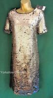 New NEXT Uk 8 Black & Antique Silver SEQUIN Two-Tone Party Evening Shift Dress