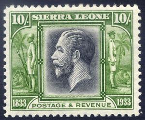 SIERRA LEONE 1933 CENTENARY 10/- BLACK & SAGE-GREEN VERY FRESH MOUNTED MINT