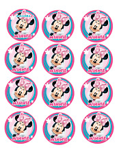 Minnie Mouse Cup Cake Image Personalised Birthday Decoration Party Topper