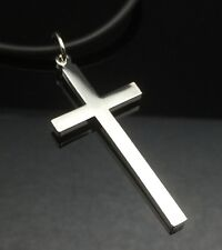Silver Plain CROSS Pendant Necklace White Gold GP Black Leather Quality