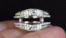 New 14K 1ct Real Diamond (H,Si) Double Row Chevron Enhancer Ring Guard Wrap Sz7