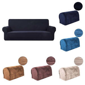 2pcs Velvet Stretch Armrest Covers Sofa Settee Couch Armchair Covers Protector