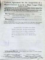 Tom Yawkey Jsa Coa Certed Signed 1947 Red Sox Contract Authentic Autograph