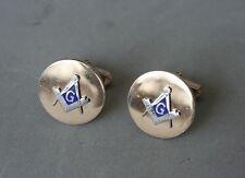 "Swank Mason Masonic Cuff Links Gold Tone Blue Enamel 3/4"" Fraternal Jewelry"