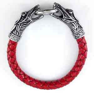 Men's Titanium Steel Dragon Braided Real Leather Bracelet Bangle Wristband Cuff