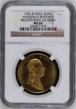 More details for 1932 b-925a wakefield restored bicentennial of birth 32mm | ngc sealed