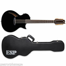 ESP LTD TL-12 12-String Black BLK Thinline 12-String Guitar + Hardshell Case TL