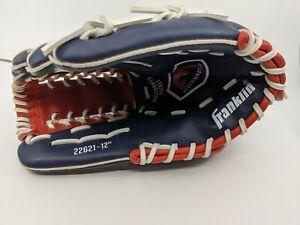 """Franklin Baseball Fielding Glove 12"""" RHT Navy Blue Red White #22621 New"""