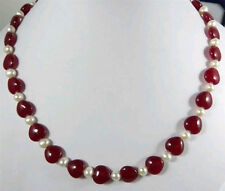 New 7-8MM Natural White Cultured pearl & Heart red RUBY Necklace long 22inch