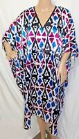 Winlar Women Plus One Free Size Shiny Short Teal Purple Caftan Tunic Dress Boho