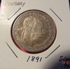 1891 KB Austria-Hungarian 1 Forint Empire Franz Josef I. Silver Coin