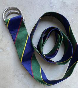"""Ralph Lauren Girls' Striped D Ring Belt Adjustable Green Blue Green Red 40"""" Long"""