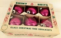 Vintage Lot 6 Hot Pink 60s SHINY BRITE Glass ORNAMENTS Orig Box VGC 3""