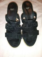 UGG BLACK SUEDE LADIES STRAPPY WEDGE SANDALS SHOES SIZE 6.5 S/N 1000404