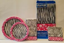 ZEBRA Party Bridal Shower Bachelorette Birthday Napkins Plates Table Cloth Pink