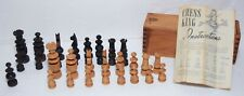 Antique Chess King Wooden Carved In Wood Box w/Instructions