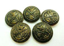 Vintage lot of 5 Large Coat of Arms Golf Crown Flower Metal Buttons  *J7
