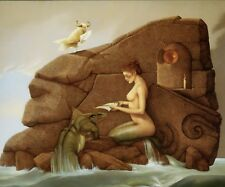 Michael Parkes print THE LETTER semi-nude mermaid 1981 surreal fantasy art