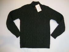 INIS CRAFTS ARAN Irish Merino WOOL Knit Gray 1/4 Zip SWEATER Mens Size SMALL NEW