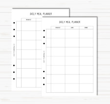 A5 Planner Filofax Kikki K Inserts - Daily Meal Plan / Meal Planner