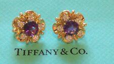 Tiffany & Co. 18K Yellow Gold 4TCW Amethyst & 1TCW Diamond Flower Earrings Rare!