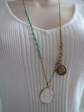 Lucky Brand gold tone~clear stone~turquoise beaded~locket necklace, NWT