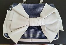 White Bow Bodhi Shoulder Bag Blue and White Leather Purse