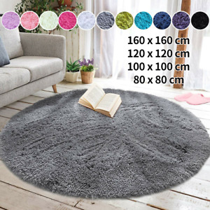 Circle Round Shaggy Rug Living Room Bedroom Carpet Floor Fluffy Mat Anti-Skid UK