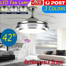 """42"""" Modern LED Remote Control Light Ceiling Fixtures Fan Lamp Retractable Blade"""