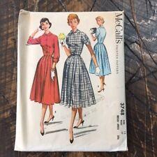 Vintage 1956 McCall's 3748 Misses Dress Sz 12 Bust 32 CUT