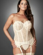 Goddess Basque Corset Size 36FF Occasions Underwired Strapless Ivory Lace 8202