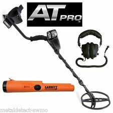 Garrett New AT Pro Metal Detector w/HPs and Pro Pointer AT Waterproof Pinpointer