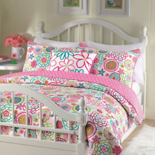 Cozy Line Home Fashions Mariah Pink Polka Dot Colorful Reversible Quilt Bedding