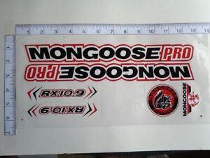 Mongoose PRO RX 10.9 Titanium Stickers Black, White &Red. Die Cut.