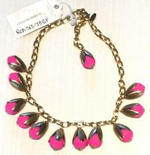 Lenora Dame Necklace - Neon Pink Flowers w/ Gold Pl.Capped Leaves NWT $115 > $70