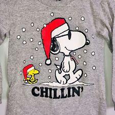 Peanuts Snoopy Christmas Kids Top SZ 6/7 Gray Snowing Chillin' Woodstock