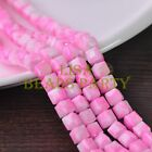 New 30pcs 8mm Cube Square Faceted Glass Loose Spacer Colorful Beads Deep Pink