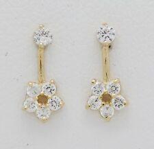 14K Solid Yellow Gold Cubic Zirconia Flower Earrings