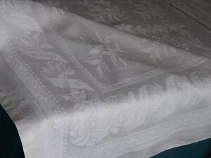 belle nappe ancienne, mono C L, damas de fil de lin