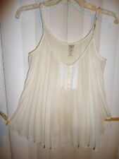 FREE PEOPLE Sz XS cami evening chiffon-poly off-white ivory pleated  sexy top