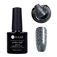 7.5ml Soak Off UV Gel Nagellack Glitzer Platin Luxus Scheint Dekoration UR SUGAR