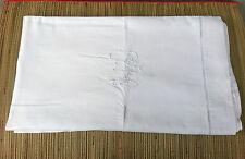 Ancien drap en coton monogramme liseret brodé, broderie ajouré.