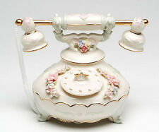 ♫ New MUSIC BOX Porcelain TELEPHONE Vintage Style MUSICAL FIGURINE Phone Flower