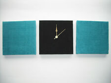 3 MODERN FAUX SUEDE TEAL JADE GREEN TURQUOISE BLACK WALL HANGINGS CLOCK 30 cm