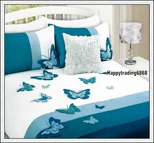 White Aqua Turquoise 3D Butterfly * QUEEN QUILT DOONA COVER SET 280T Faux Silk
