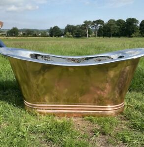 BAYSDALE COPPER BATH WITH NICKEL INNER 1700MM  **free Delivery and Waste**