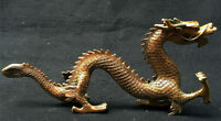 13'' Chinese Brass Feng Shui Fengshui Collect Lucky Dragon Statue Sculpture